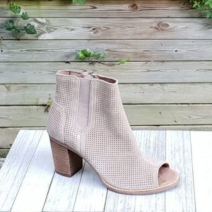 Toms Majorca Booties Heel Peep Toe Suede Perforate
